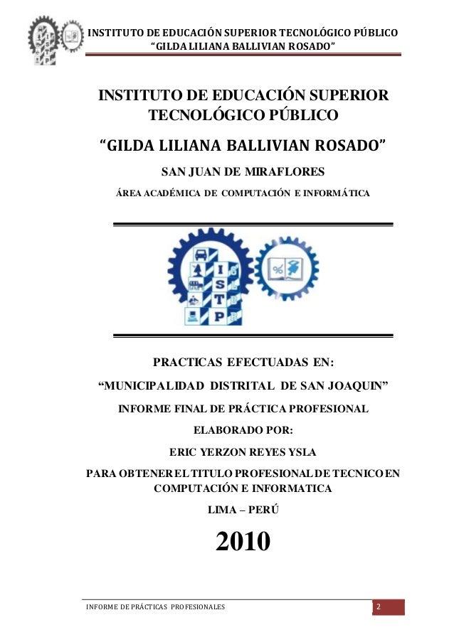 informe de pr193cticas preprofesionales instituto de