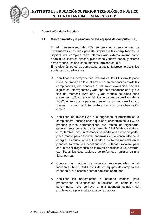 INFORME DE PRÁCTICAS PRE-PROFESIONALES INSTITUTO DE EDUCACIÓN SUPERIO…