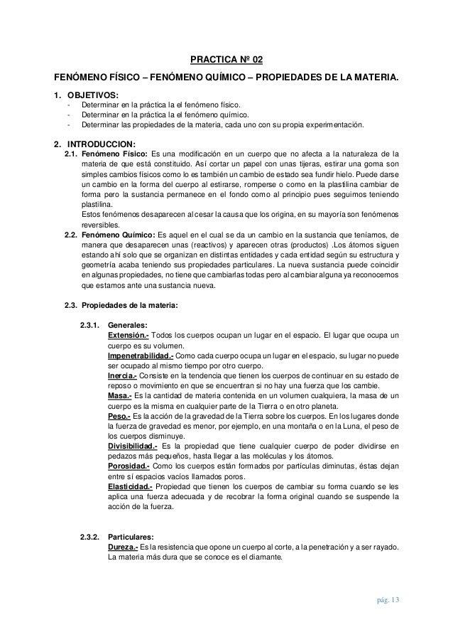 Informe de practicas de laboratorio Quimica