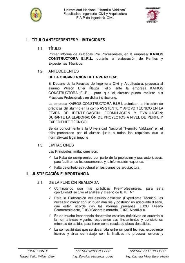 Informe De Practicas Pre Profesionales En Ingenieria Civil