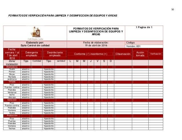 Informe de procedimientos operacionales estandarizados for Limpieza y desinfeccion de equipos