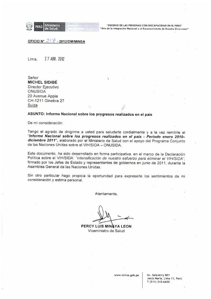 INFORME NACIONAL SOBRE LOS PROGRESOS        REALIZADOS EN EL PAÍS                       PERU    Periodo enero 2010 - dicie...