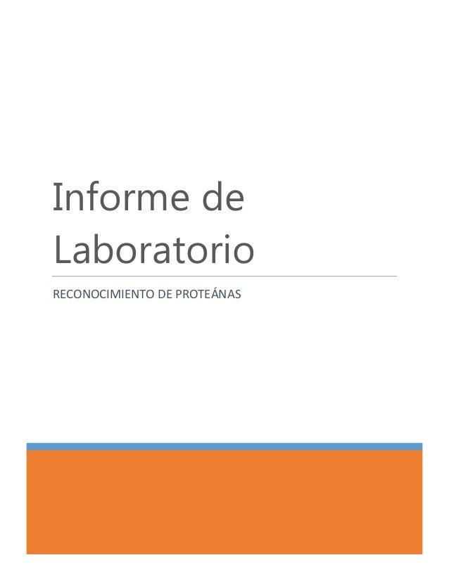 Informe de Laboratorio RECONOCIMIENTO DE PROTEÁNAS