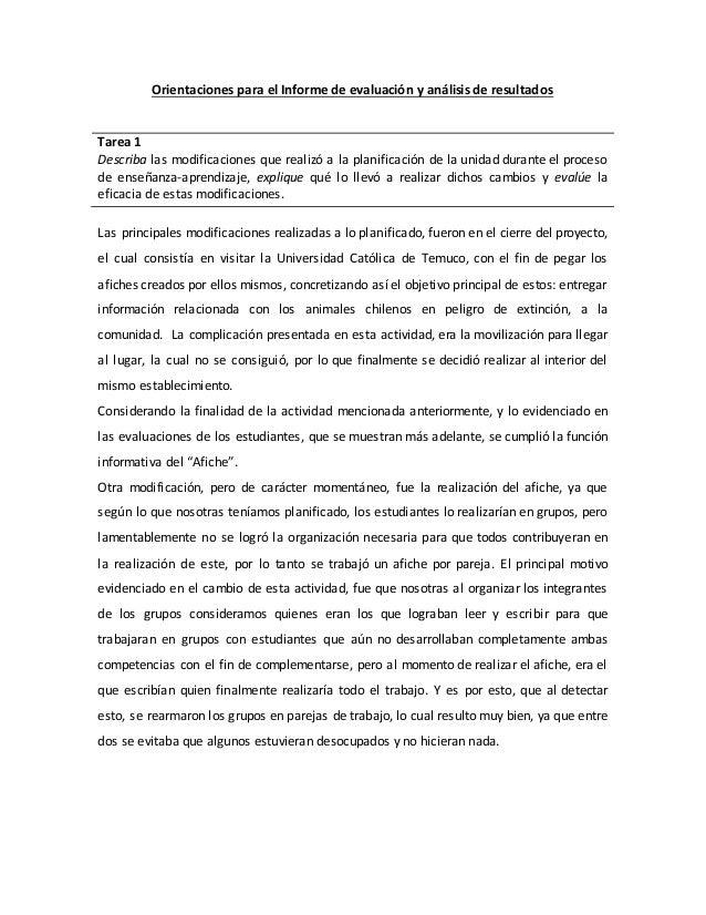 Orientaciones para el Informe de evaluación y análisis de resultados  Tarea 1  Describa las modificaciones que realizó a l...