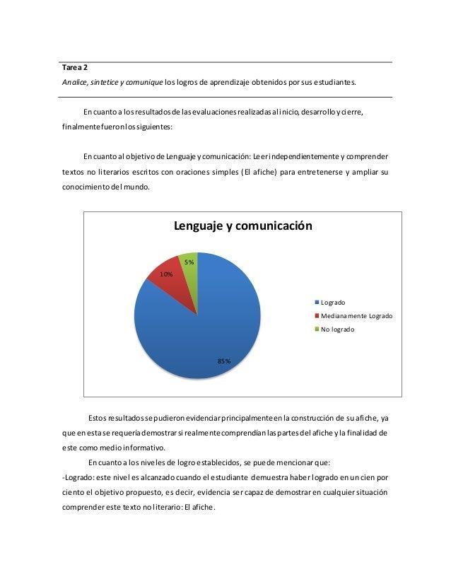 Tarea 2  Analice, sintetice y comunique los logros de aprendizaje obtenidos por sus estudiantes.  En cuanto a los resultad...