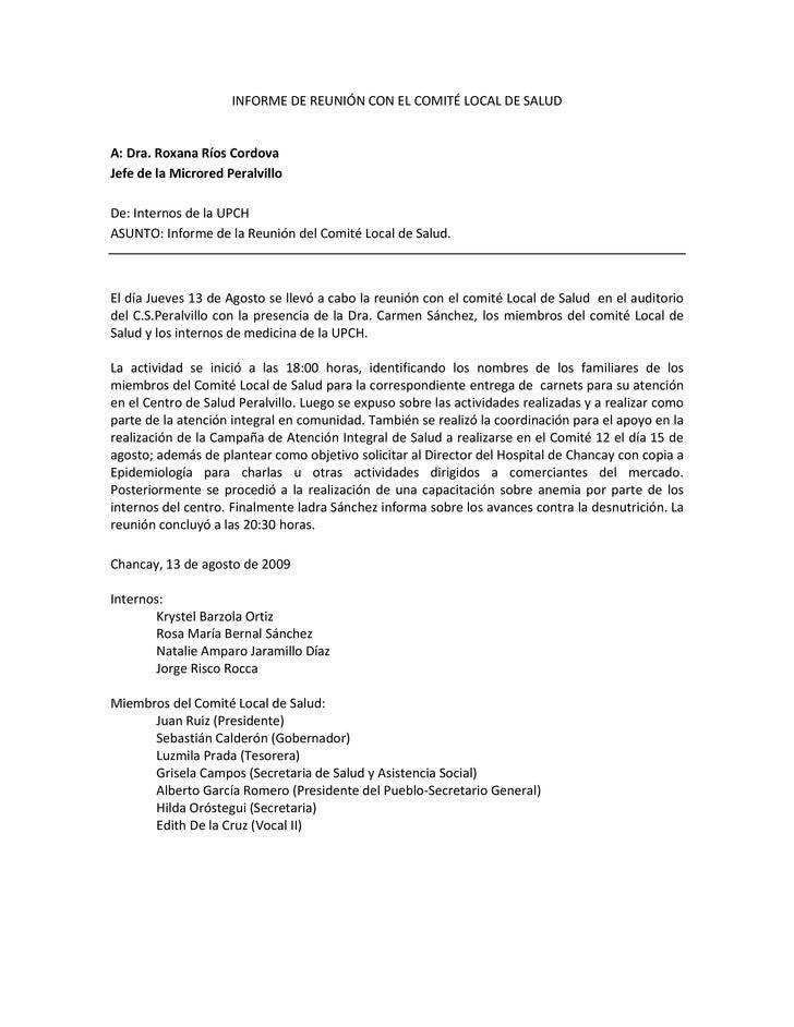 INFORME DE REUNIÓN CON EL COMITÉ LOCAL DE SALUD<br />A: Dra. Roxana Ríos Cordova<br />Jefe de la Microred Peralvillo<br />...