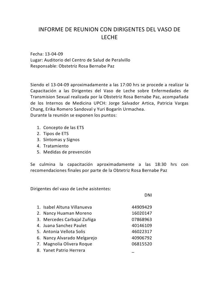 INFORME DE REUNION CON DIRIGENTES DEL VASO DE                       LECHE  Fecha: 13-04-09 Lugar: Auditorio del Centro de ...