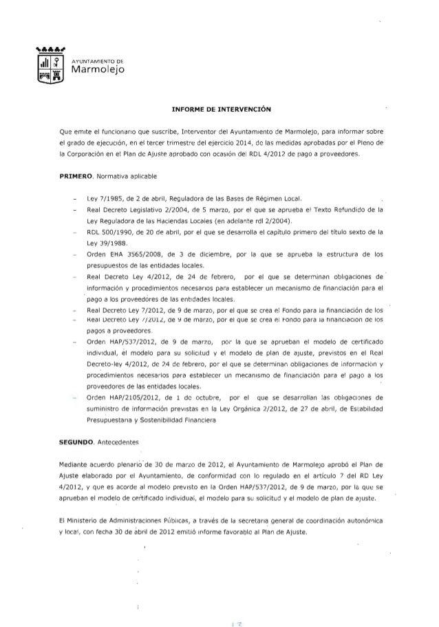 A YUN TAMIENTO DE Marmolejo INFORME DE INTERVENCION Que errnte el runcionerto que suscribe, Interventor del Avunterniento ...