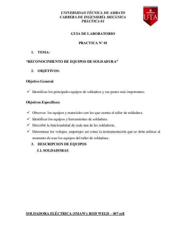UNIVERSIDAD TÉCNICA DE AMBATO                      CARRERA DE INGENIERÍA MECÁNICA                                PRÁCTICA ...