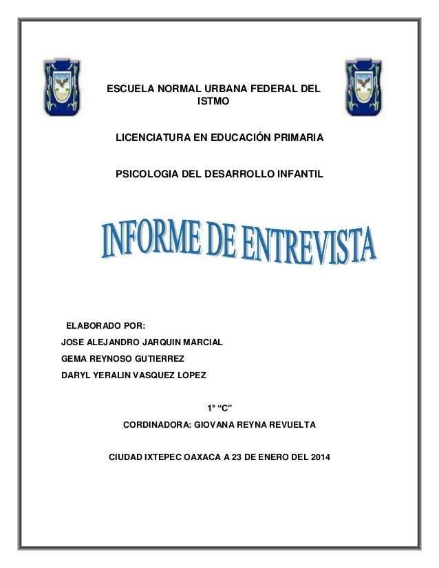 ESCUELA NORMAL URBANA FEDERAL DEL ISTMO  LICENCIATURA EN EDUCACIÓN PRIMARIA  PSICOLOGIA DEL DESARROLLO INFANTIL  ELABORADO...