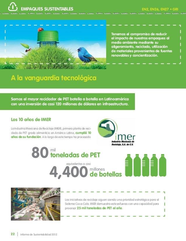 22 Informe de Sustentabilidad 2012 EMPAQUES SUSTENTABLES Tenemos el compromiso de reducir el impacto de nuestros empaques ...