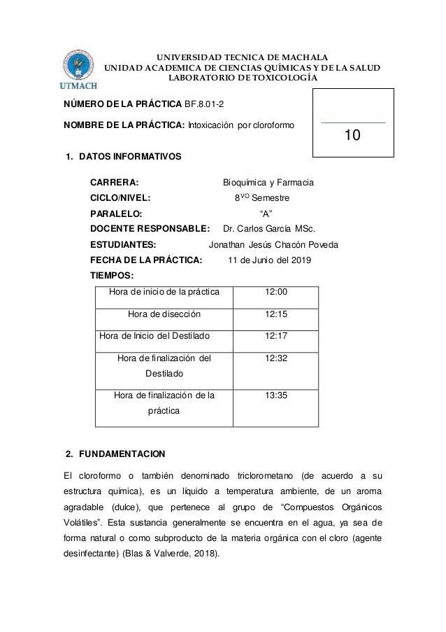 UNIVERSIDAD TECNICA DE MACHALA UNIDAD ACADEMICA DE CIENCIAS QUÍMICAS Y DE LA SALUD LABORATORIO DE TOXICOLOGÍA NÚMERO DE LA...