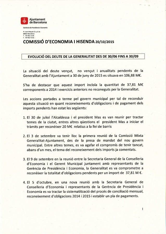 Evolució del deute de la Generalitat de 30/6 a 30/9