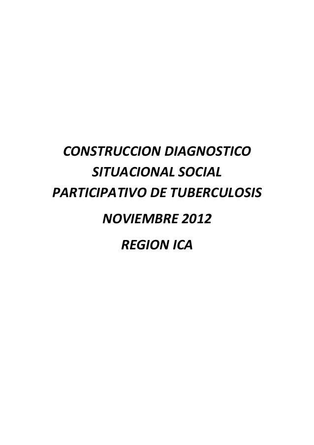 CONSTRUCCION DIAGNOSTICO     SITUACIONAL SOCIALPARTICIPATIVO DE TUBERCULOSIS      NOVIEMBRE 2012         REGION ICA