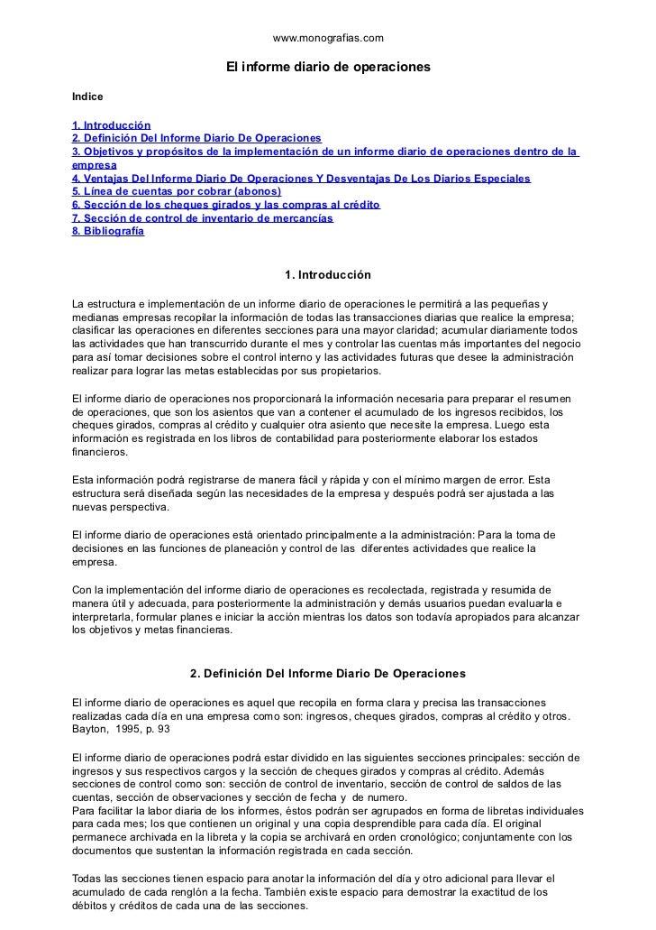 www.monografias.com                                El informe diario de operacionesIndice1. Introducción2. Definición Del ...
