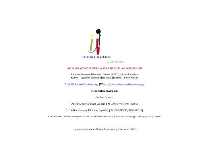 ORGANISATION PROFILE & STRATEGIC PLAN FOR 2011-2012                        Regional Investor Education Centre (RIEC), Info...