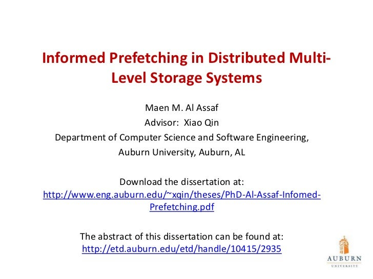 Informed Prefetching in Distributed Multi-         Level Storage Systems                     Maen M. Al Assaf             ...