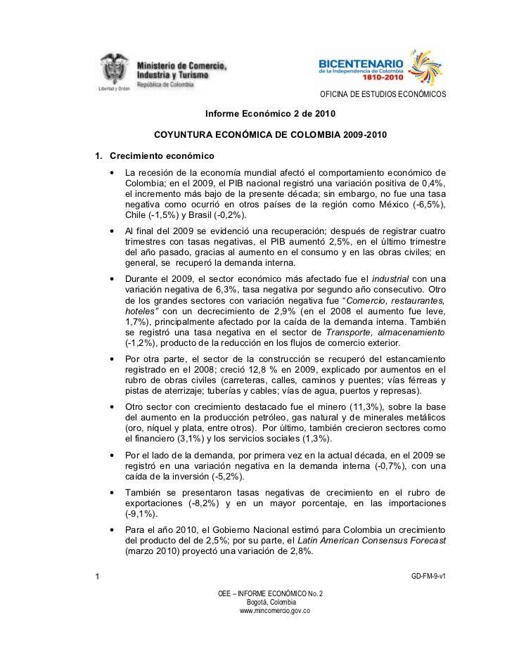 OFICINA DE ESTUDIOS ECONÓMICOS                             Informe Económico 2 de 2010                 COYUNTURA ECONÓMICA...