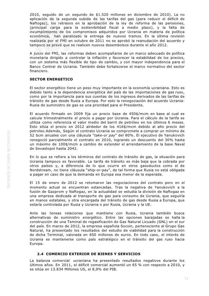 ICEX Informe económico y comercial. ucrania 2012