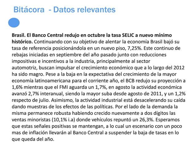 Bitácora - Datos relevantesBrasil. El Banco Central redujo en octubre la tasa SELIC a nuevo mínimohistórico. Continuando c...