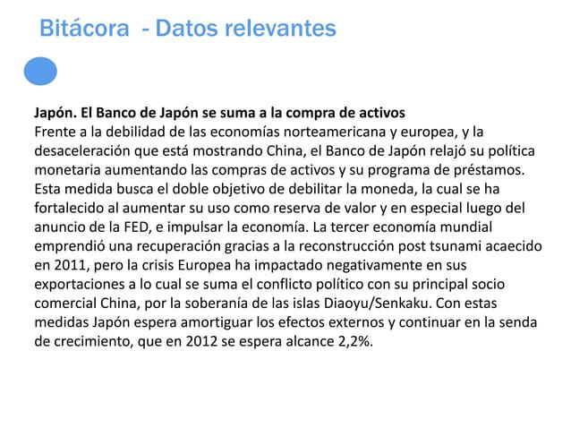 Bitácora - Datos relevantesJapón. El Banco de Japón se suma a la compra de activosFrente a la debilidad de las economías n...