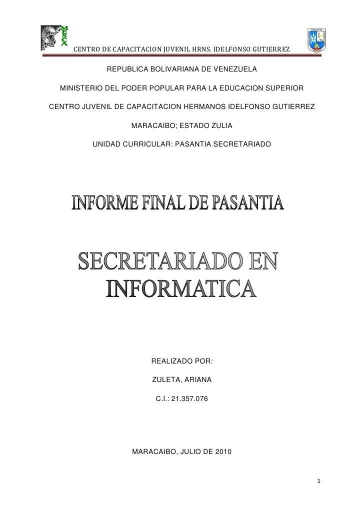 REPUBLICA BOLIVARIANA DE VENEZUELA<br />MINISTERIO DEL PODER POPULAR PARA LA EDUCACION SUPERIOR<br />CENTRO JUVENIL DE CAP...