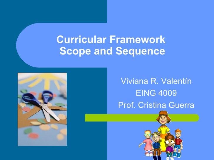 Curricular Framework  Scope and Sequence Viviana R. Valent ín EING 4009 Prof. Cristina Guerra