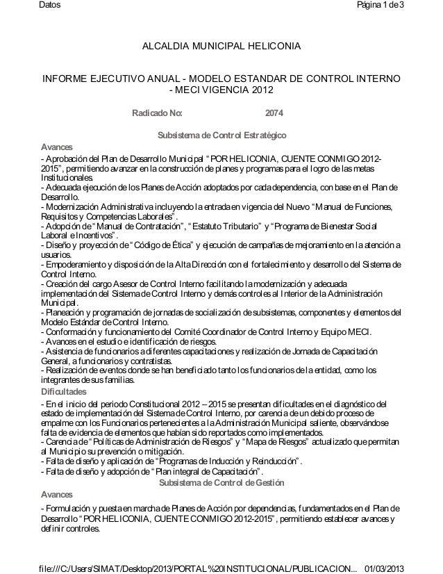 informe ejecutivo anual vigencia 2012