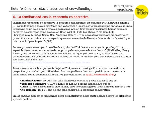 """@luismi_barral @pepabarral 6. La familiaridad con la economía colaborativa. La llamada """"economía colaborativa (o consumo c..."""