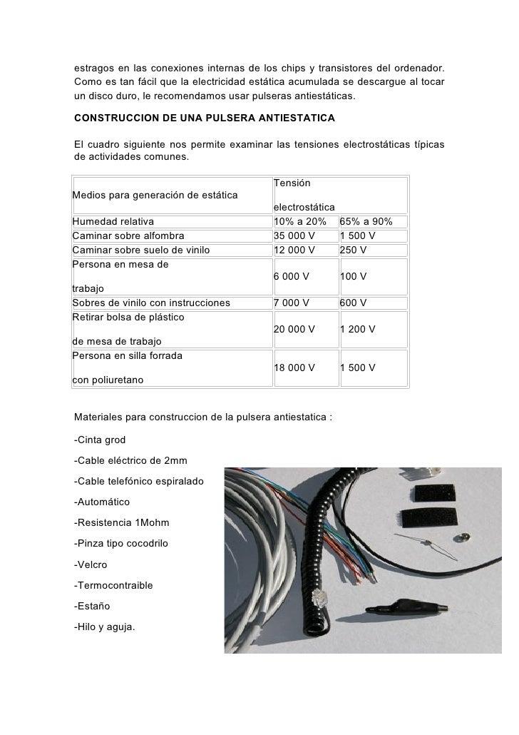 Informe electricidad estatica for Como evitar la electricidad estatica