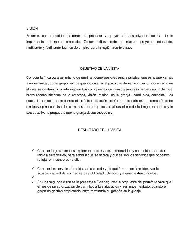 Informe empresa visita empresarial for Como hacer una propuesta para un comedor industrial