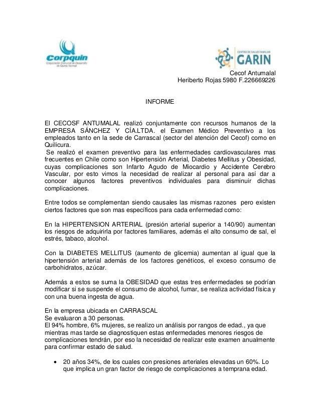 Cecof Antumalal Heriberto Rojas 5980 F.226669226 INFORME El CECOSF ANTUMALAL realizó conjuntamente con recursos humanos de...