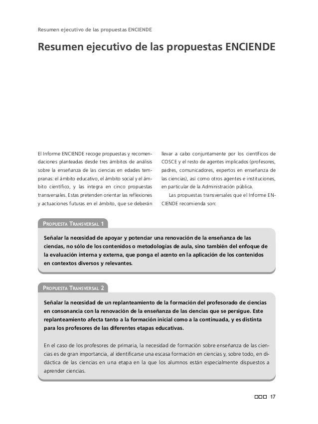 CONFEDERACIÓN DE SOCIEDADES CIENTÍFICAS DE ESPAÑA (COSCE) Informe ENCIENDE Enseñanza de las Ciencias en la Didáctica Escol...