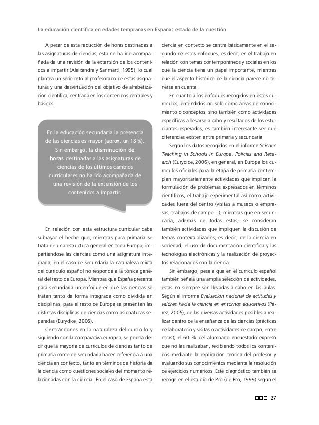 Informe ENCIENDE mientos de cada país y los niveles del alumnado en referencia a su alfabetización científica. Para ello s...