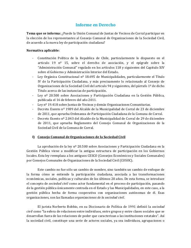Informe en DerechoTema que se informa: ¿Puede la Unión Comunal de Juntas de Vecinos de Corral participar enla elección de ...