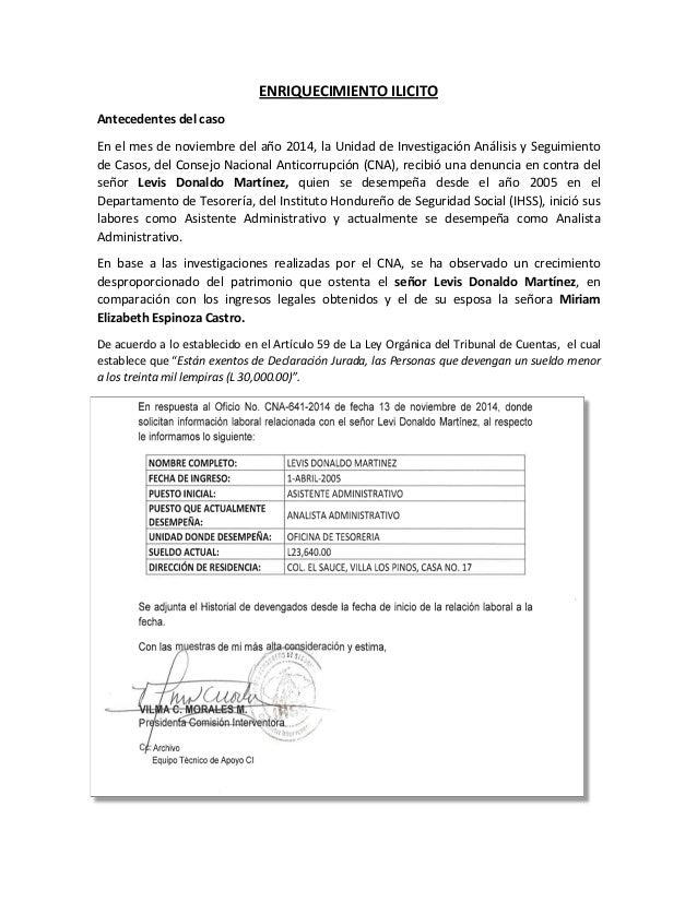 ENRIQUECIMIENTO ILICITO Antecedentes del caso En el mes de noviembre del año 2014, la Unidad de Investigación Análisis y S...