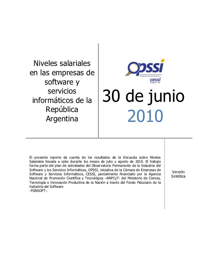 Niveles salarialesen las empresas de     software y      servicios informáticos de la                           30 de juni...