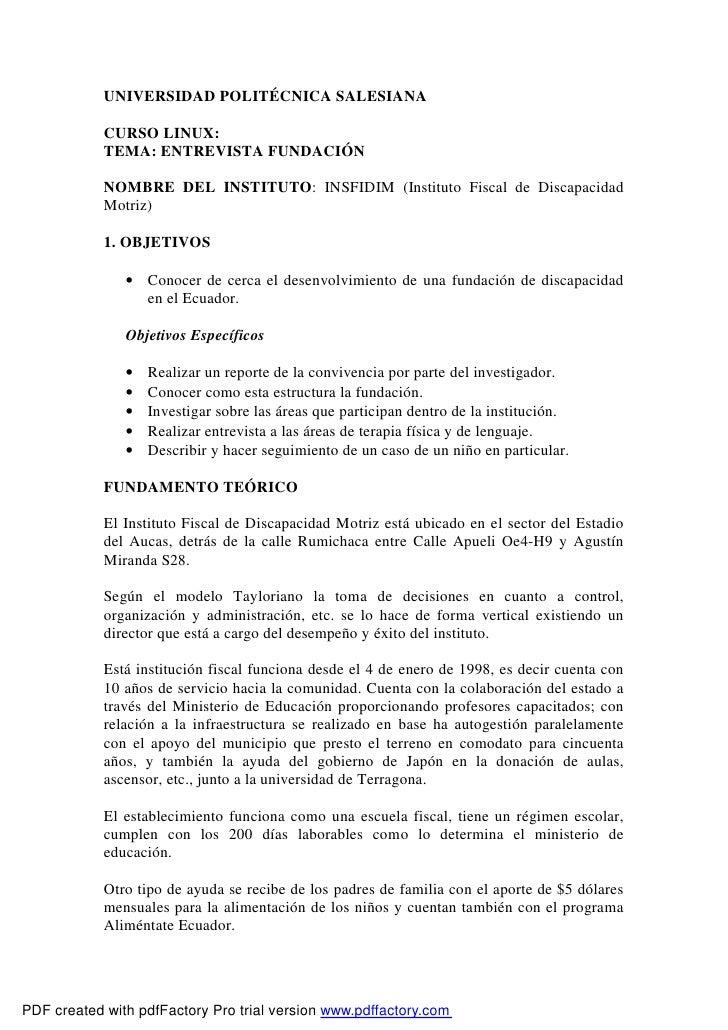 UNIVERSIDAD POLITÉCNICA SALESIANA              CURSO LINUX:             TEMA: ENTREVISTA FUNDACIÓN              NOMBRE DEL...