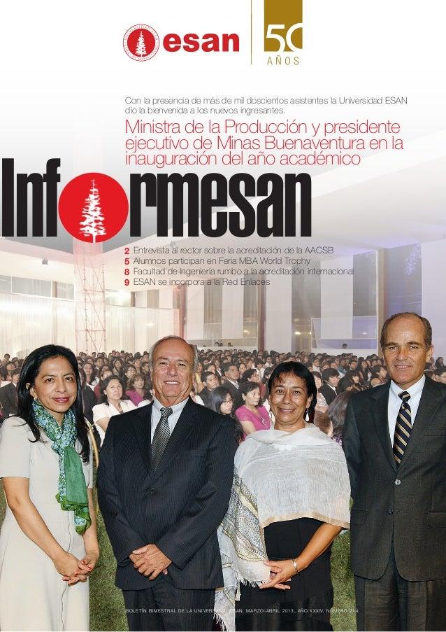 Boletín bimestral de la Universidad ESAN, marzO-abril 2013, año XXXIV, número 214Con la presencia de más de mil doscientos...