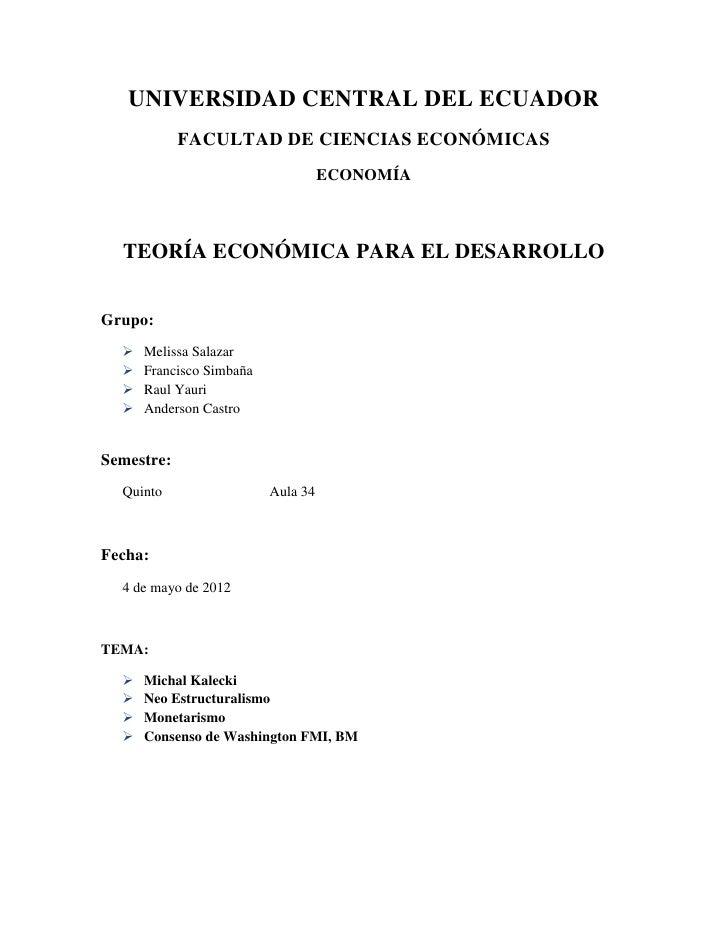 UNIVERSIDAD CENTRAL DEL ECUADOR            FACULTAD DE CIENCIAS ECONÓMICAS                                    ECONOMÍA  TE...