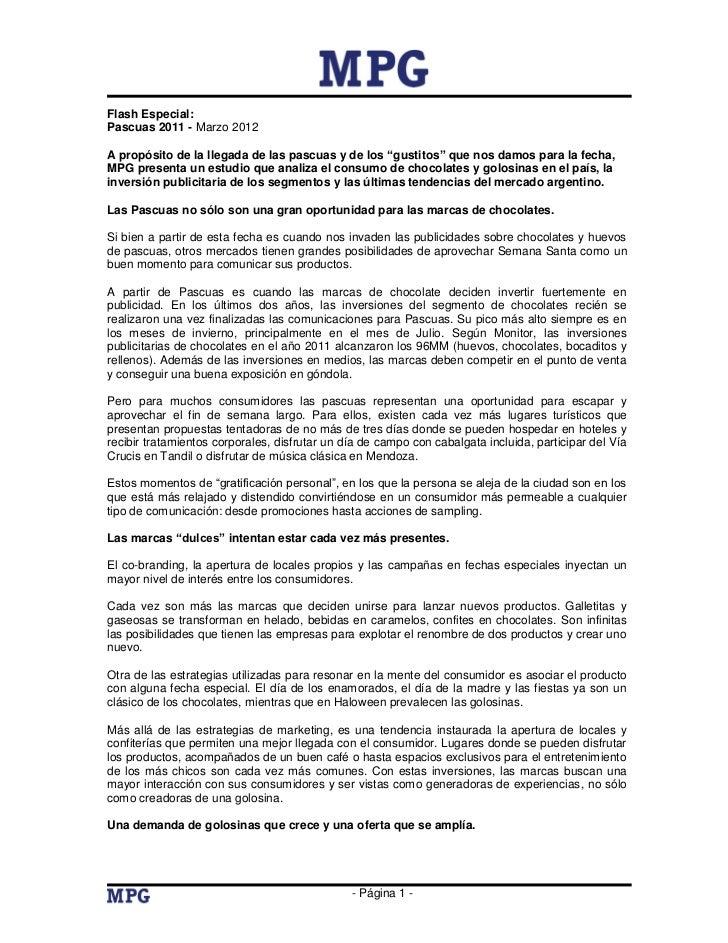 """Flash Especial:Pascuas 2011 - Marzo 2012A propósito de la llegada de las pascuas y de los """"gustitos"""" que nos damos para la..."""