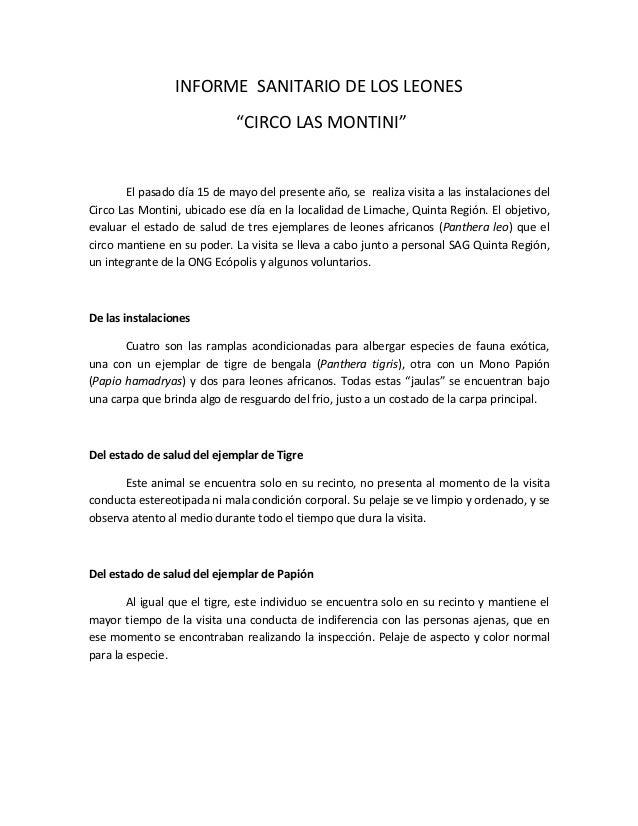 """INFORME SANITARIO DE LOS LEONES """"CIRCO LAS MONTINI"""" El pasado día 15 de mayo del presente año, se realiza visita a las ins..."""