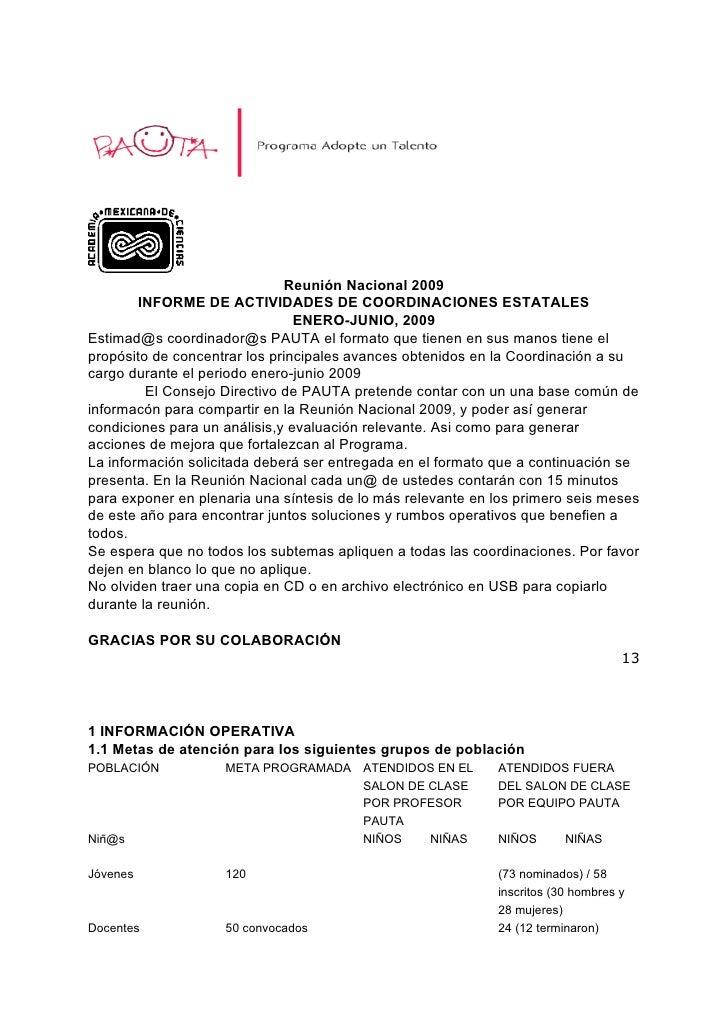 Reunión Nacional 2009         INFORME DE ACTIVIDADES DE COORDINACIONES ESTATALES                                 ENERO-JUN...