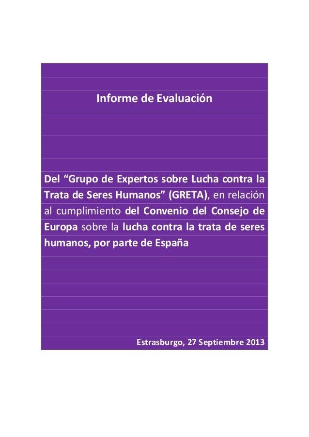 """Informe de Evaluación Del """"Grupo de Expertos sobre Lucha contra la Trata de Seres Humanos"""" (GRETA), en relación al cumplim..."""