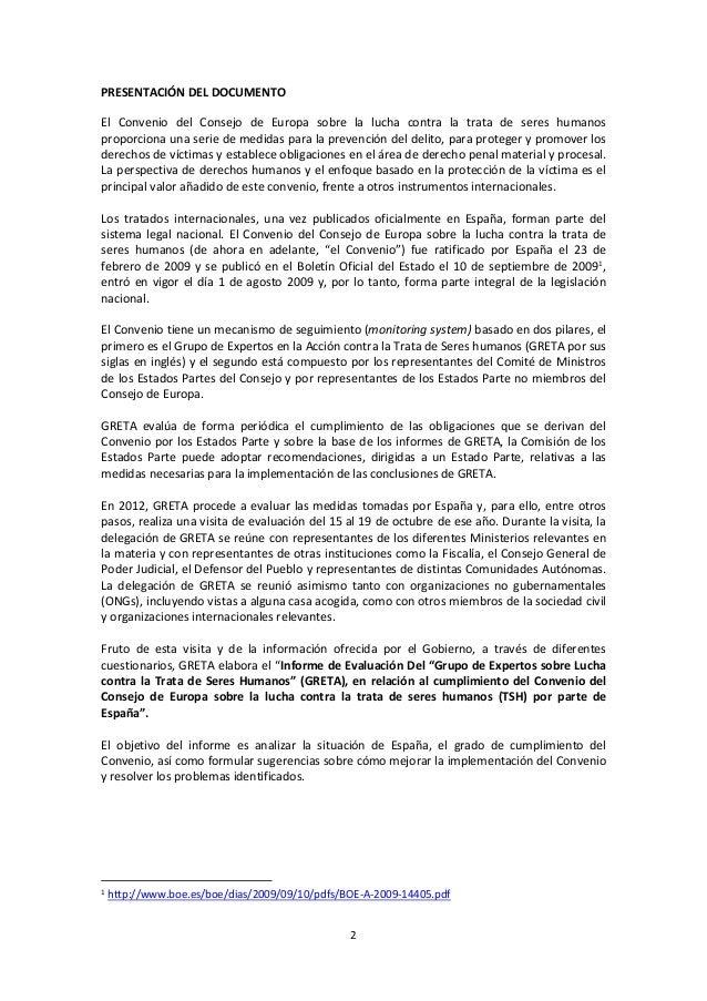 Informe evaluación Consejo de europa  GRETA sobre españa Slide 2