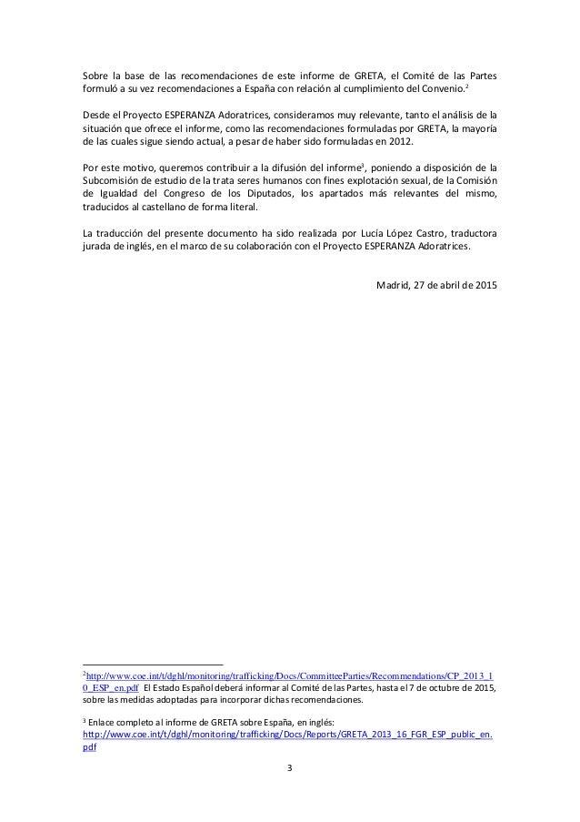 Informe evaluación Consejo de europa  GRETA sobre españa Slide 3