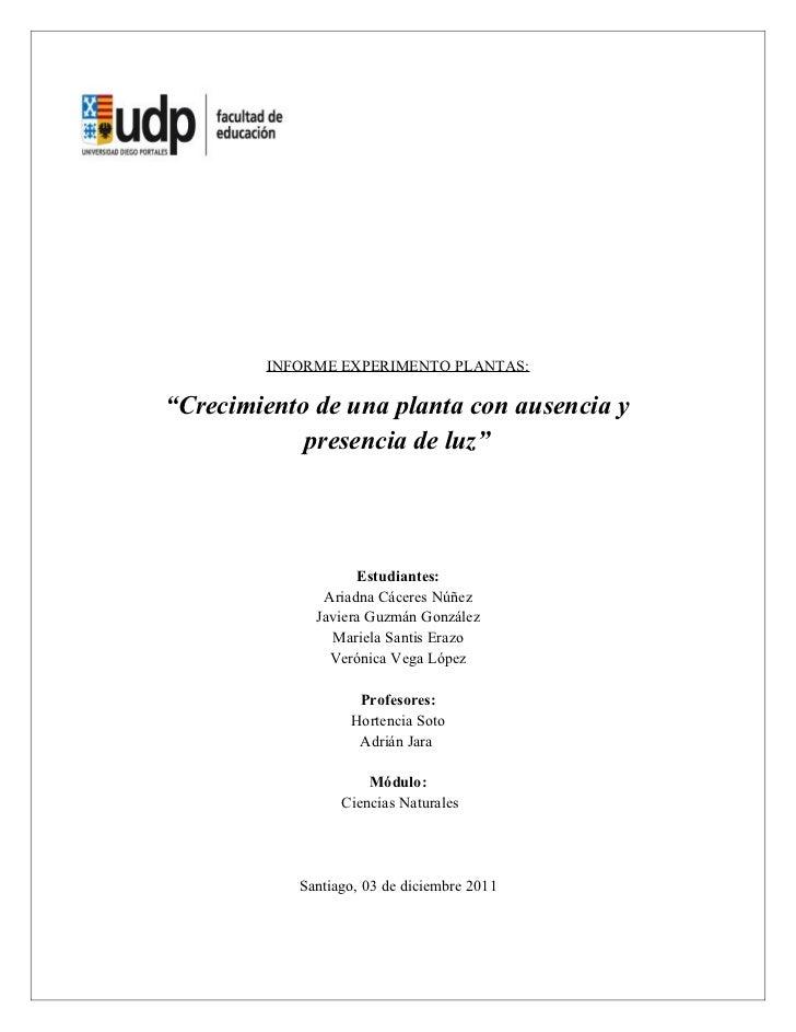 Informe experimento plantas