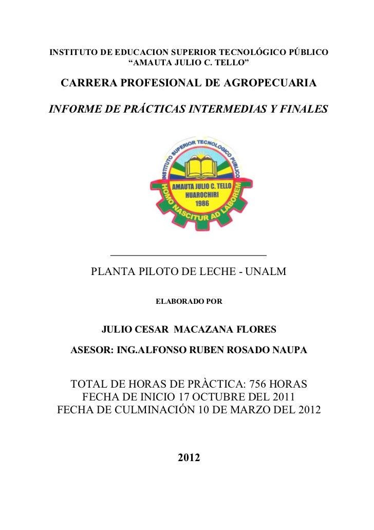 """Prácticas Intermedias y FinalesINSTITUTO DE EDUCACION SUPERIOR TECNOLÓGICO PÚBLICO               """"AMAUTA JULIO C. TELLO""""  ..."""