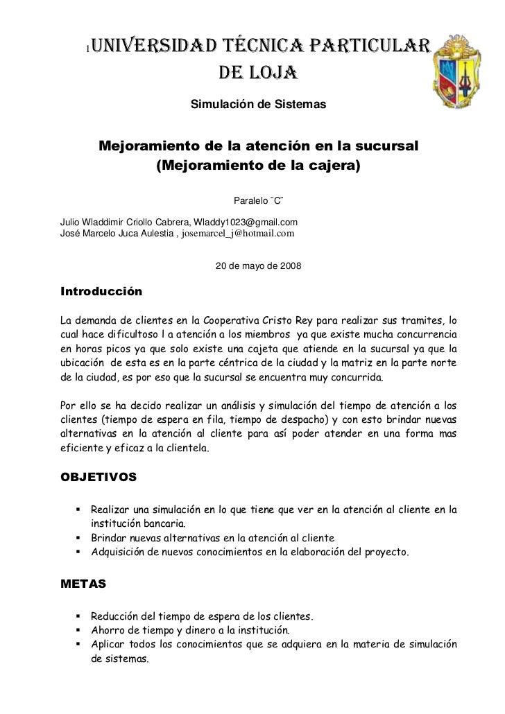 Informe Final Del Proyecto De Simulacion De Sistemas