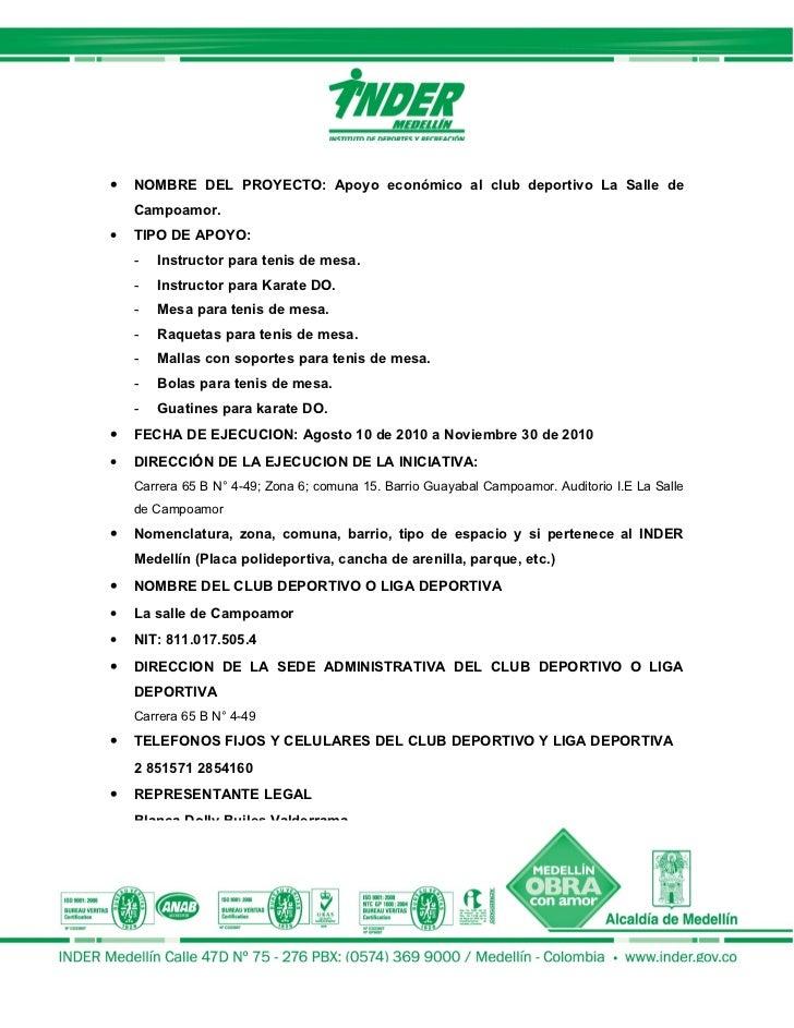 Informe final apoyo a clubes deportivos - Proyecto club deportivo ...